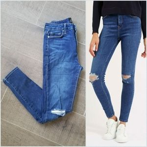 Just Black high rise knee slit skinny jeans